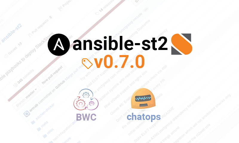 Ansible Playbooks v0.7.0 to deploy StackStorm: bwc, st2chatops and more